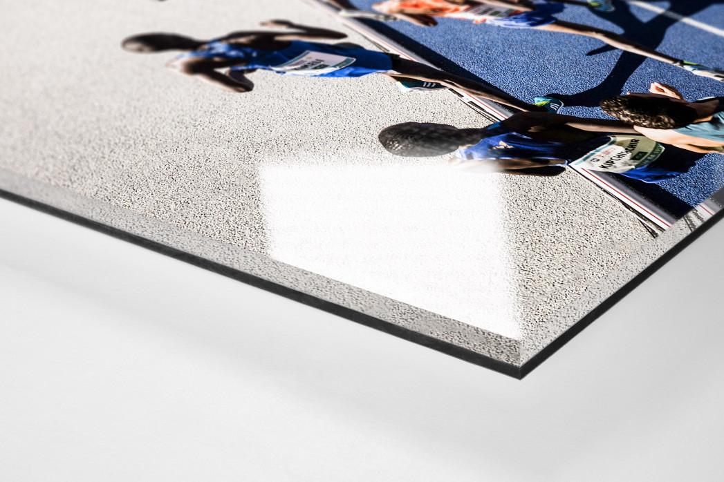 Momentaufnahme 5000m Lauf als Direktdruck auf Alu-Dibond hinter Acrylglas (Detail)