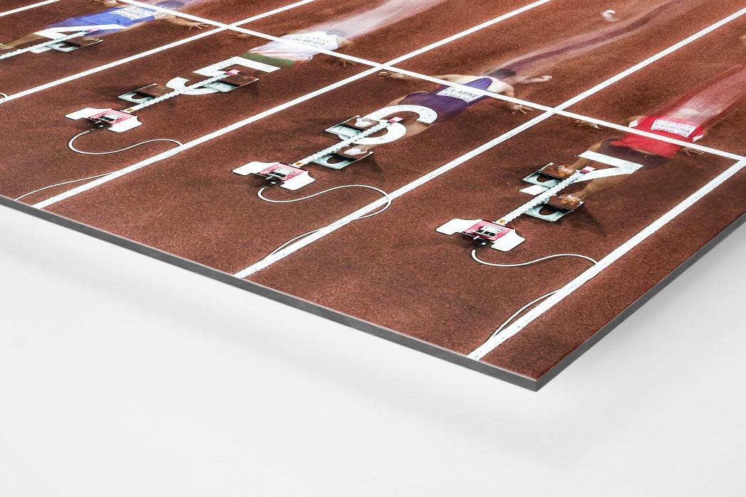 Start beim 60m Sprint als auf Alu-Dibond kaschierter Fotoabzug (Detail)