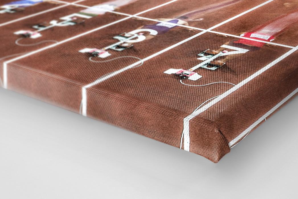 Start beim 60m Sprint als Leinwand auf Keilrahmen gezogen (Detail)