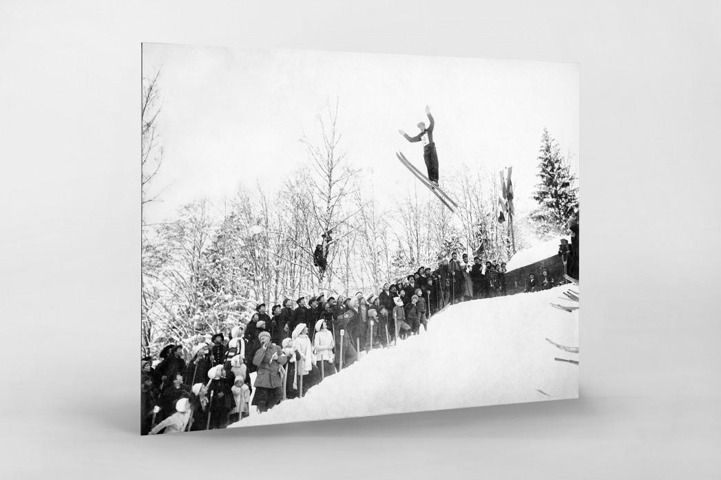 Skisprung in Chamonix als auf Alu-Dibond kaschierter Fotoabzug
