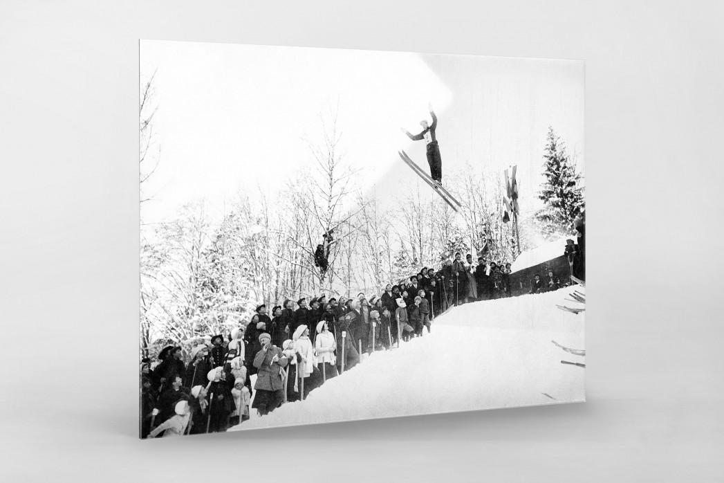 Skisprung in Chamonix als Direktdruck auf Alu-Dibond hinter Acrylglas