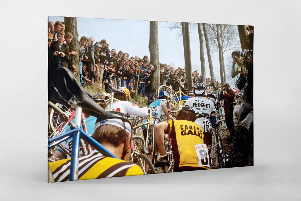 Fahrradtragen bei der Flandern-Rundfahrt als Leinwand auf Keilrahmen gezogen
