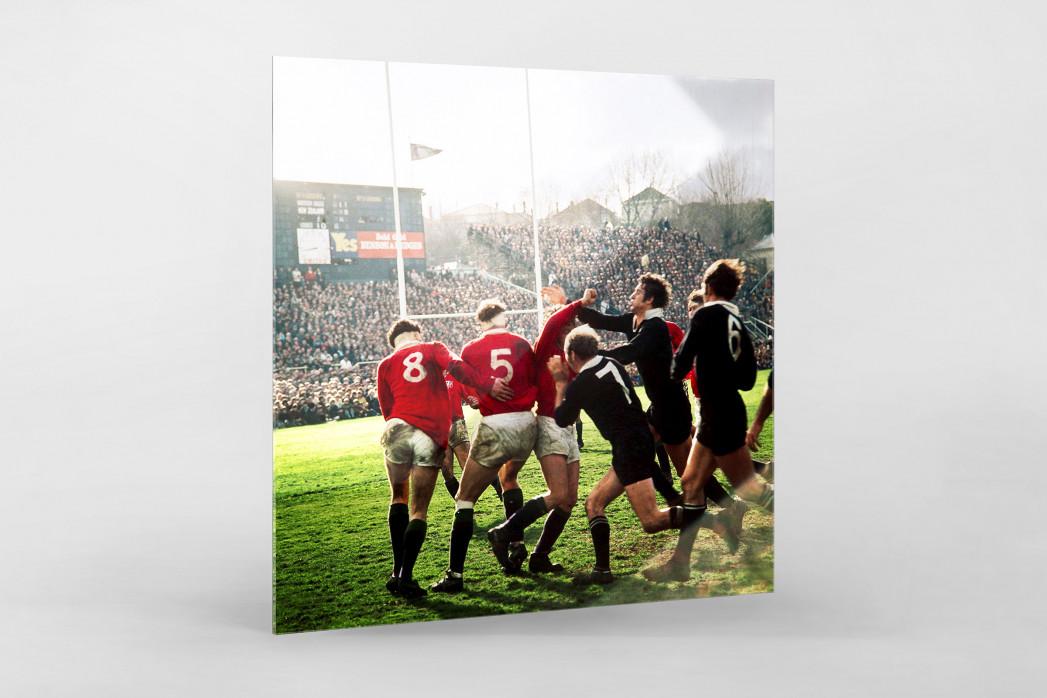 Rugby 1971 als Direktdruck auf Alu-Dibond hinter Acrylglas