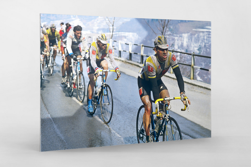 Schmutzig bei Mailand-Sanremo als Direktdruck auf Alu-Dibond hinter Acrylglas