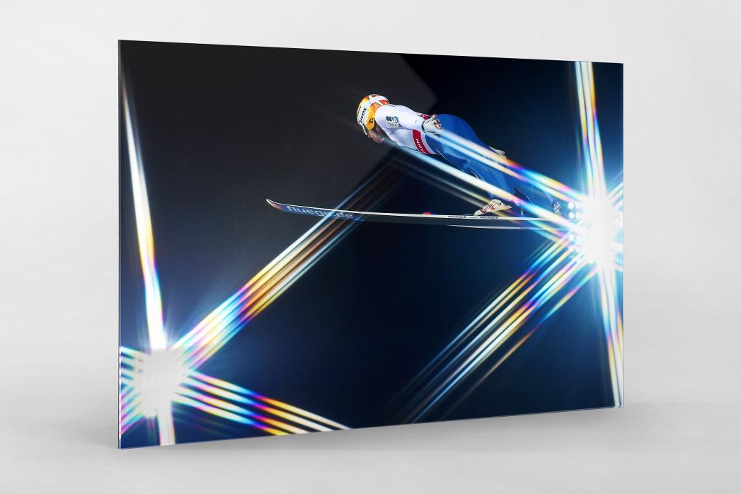 Skisprung und schwedische Lichter als Direktdruck auf Alu-Dibond hinter Acrylglas