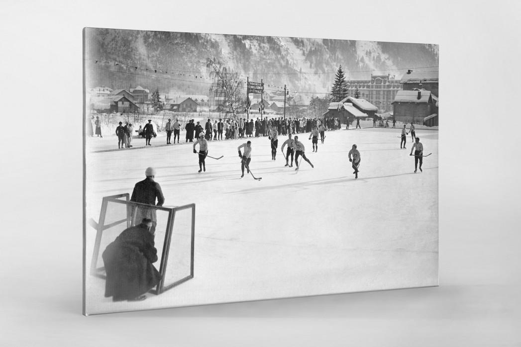 Eishockey in Chamonix (3) als Leinwand auf Keilrahmen gezogen