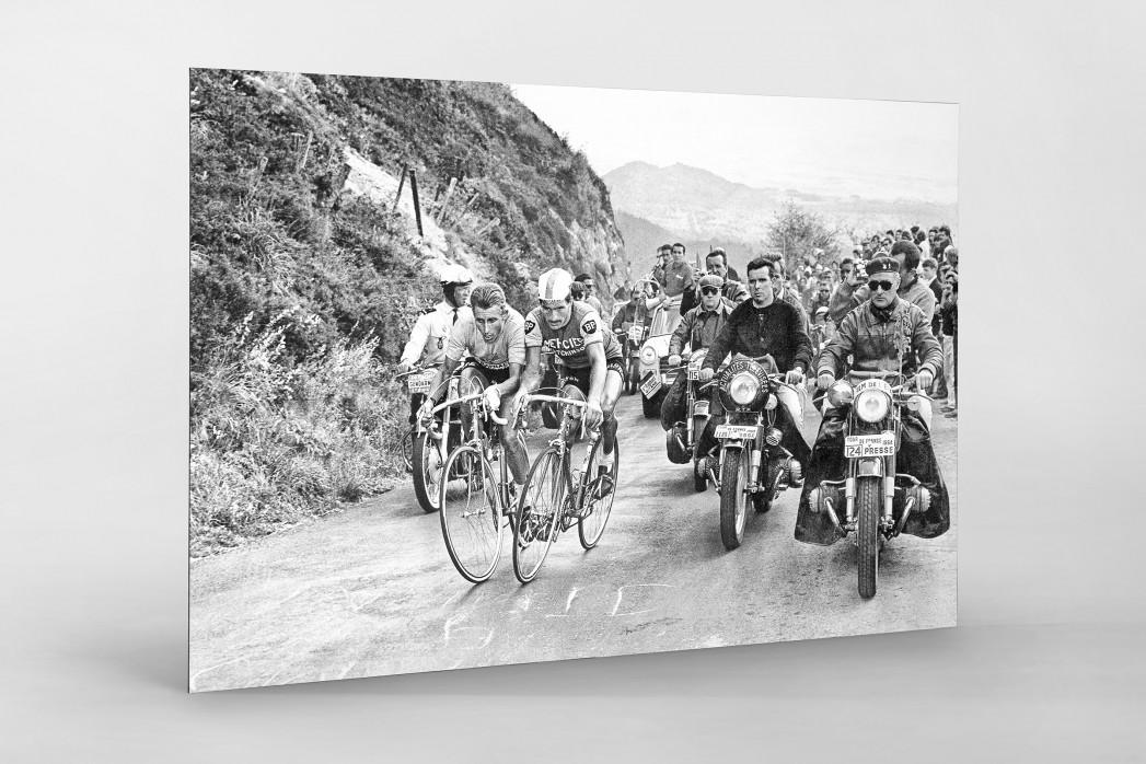 Mit motorisierter Presse bei der Tour 1964 als auf Alu-Dibond kaschierter Fotoabzug
