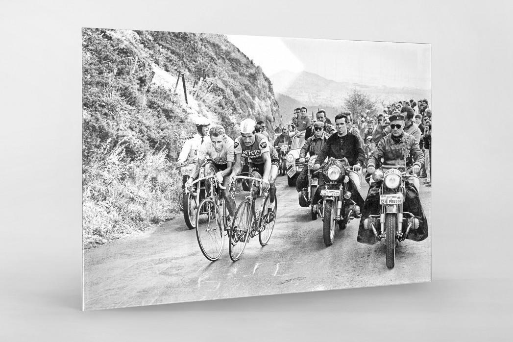 Mit motorisierter Presse bei der Tour 1964 als Direktdruck auf Alu-Dibond hinter Acrylglas