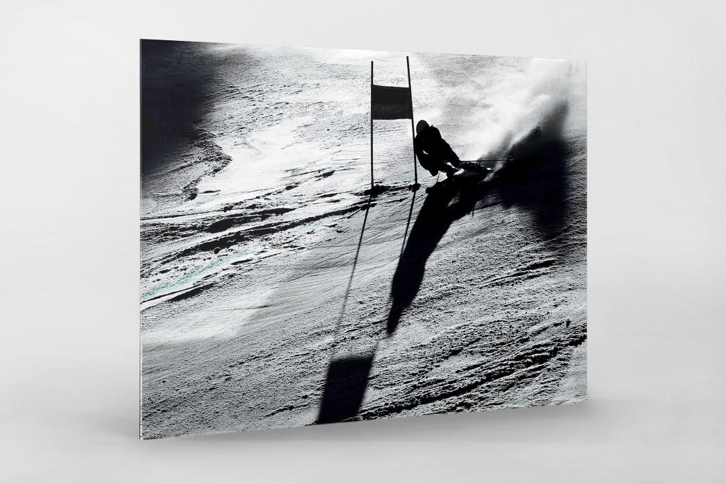 Slalomschatten als Direktdruck auf Alu-Dibond hinter Acrylglas