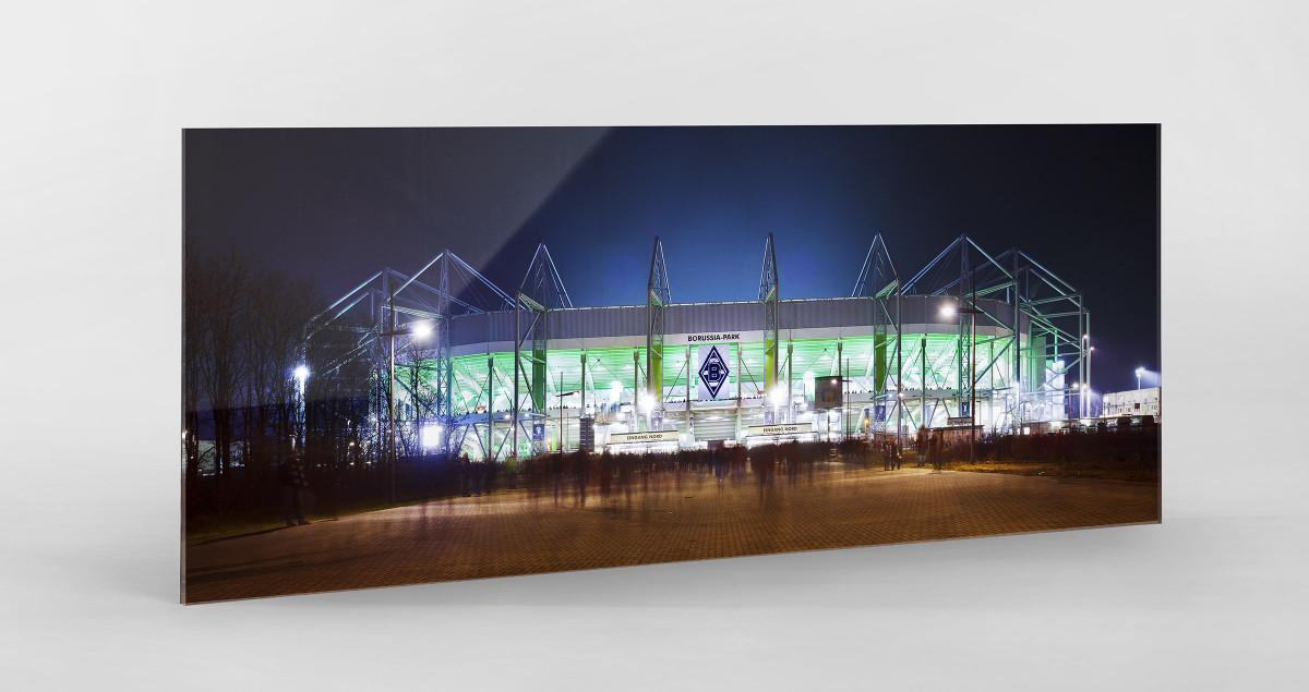 Borussia Park bei Flutlicht (Panorama) als Direktdruck auf Alu-Dibond hinter Acrylglas