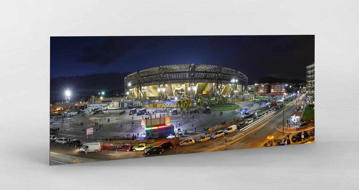 Stadio San Paolo bei Flutlicht (Panorama) als auf Alu-Dibond kaschierter Fotoabzug