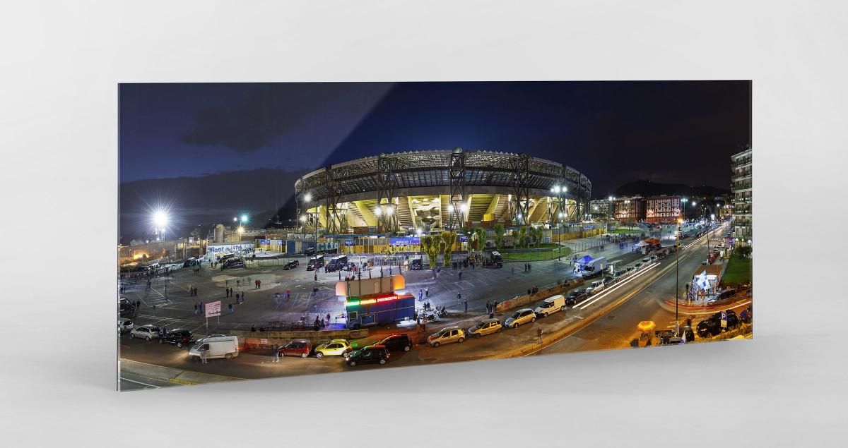 Stadio San Paolo bei Flutlicht (Panorama) als Direktdruck auf Alu-Dibond hinter Acrylglas