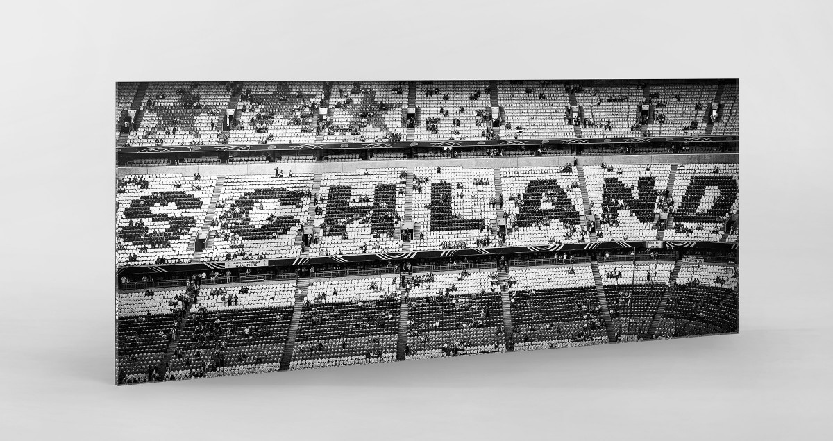 Schland in der Allianz Arena als Direktdruck auf Alu-Dibond hinter Acrylglas
