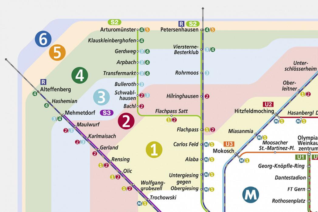 Ausschnitt: Fussballnetz München - Alternativer Streckennetzplan für den Münchner Nahverkehr als Poster