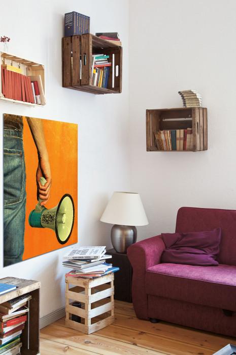 Illustration Fan mit Megaphon in deinem Wohnzimmer - 11FREUNDE BILDERWELT