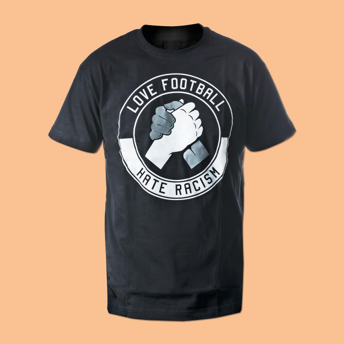 Love Football - Hate Racism schwarz - T-Shirt - Fußball - 11FREUNDE SHOP
