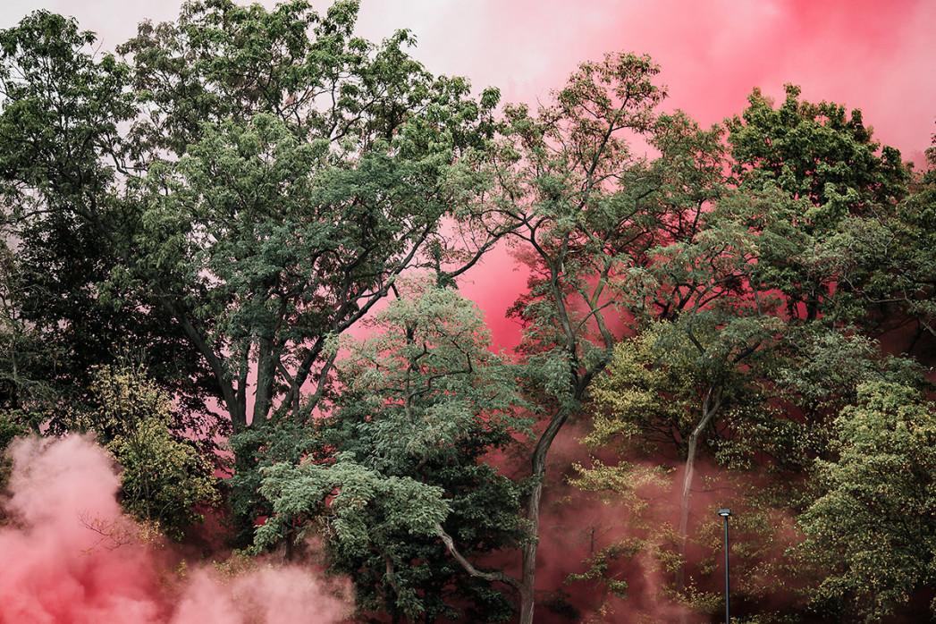 Roter Rauch - Momentaufnahme Viktoria Köln Union Berlin - Fußball Foto Wandbild