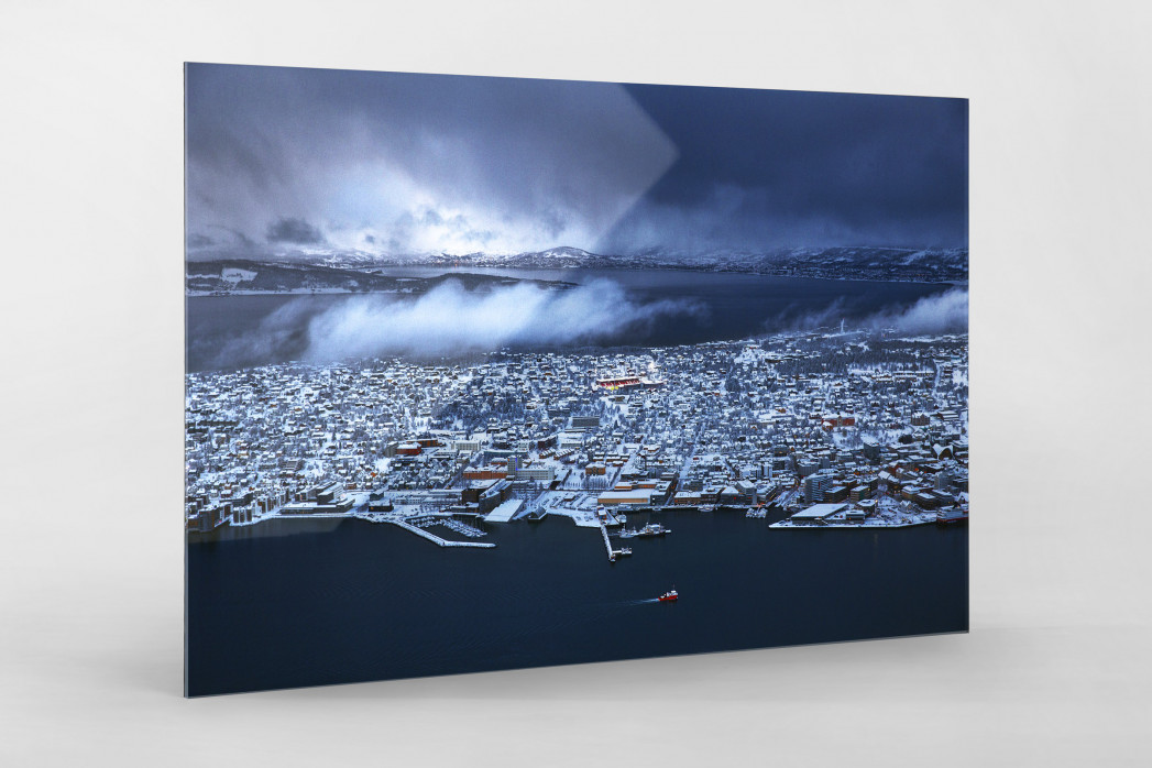 Flutlicht im norwegischen Tromsø - Fußballplatz - Wandbild