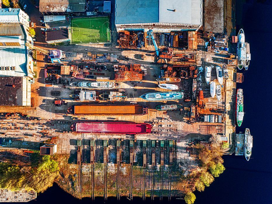 Spielfeld im Hafen