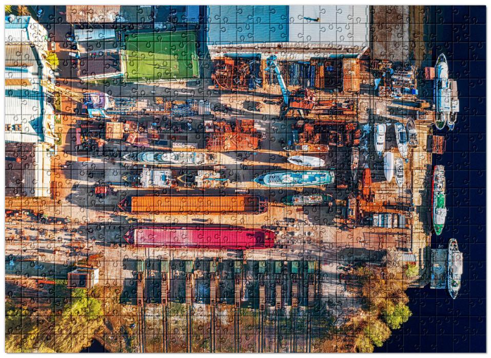 Puzzle: Spielfeld im Hafen