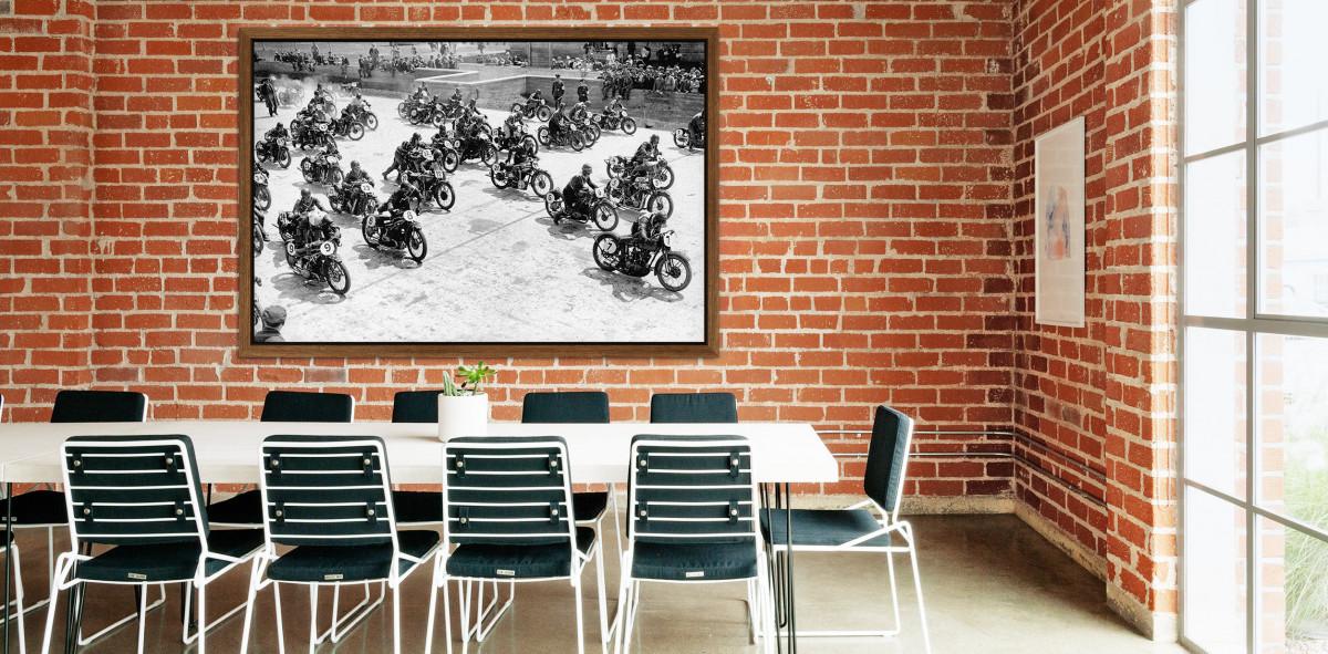 Motorradrennen 1930 - Sport Fotografie als Wandbild - Motorsport Foto - NoSports Magazin