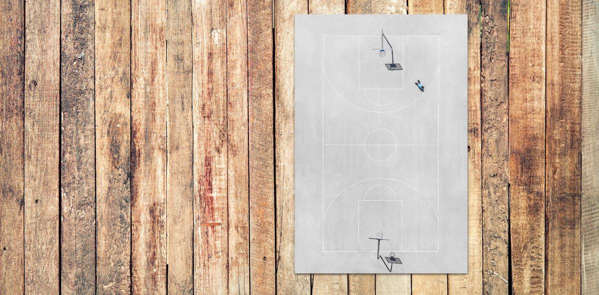 Basketballplatz aus der Vogelperspektive - Sport Fotografie als Wandbild - Streetball Foto - NoSports Magazin - 11FREUNDE SHOP