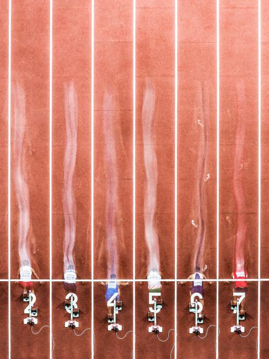 Start beim 60m Sprint - 11FREUNDE SHOP - Sport Leichtathletik Foto als Wandbild