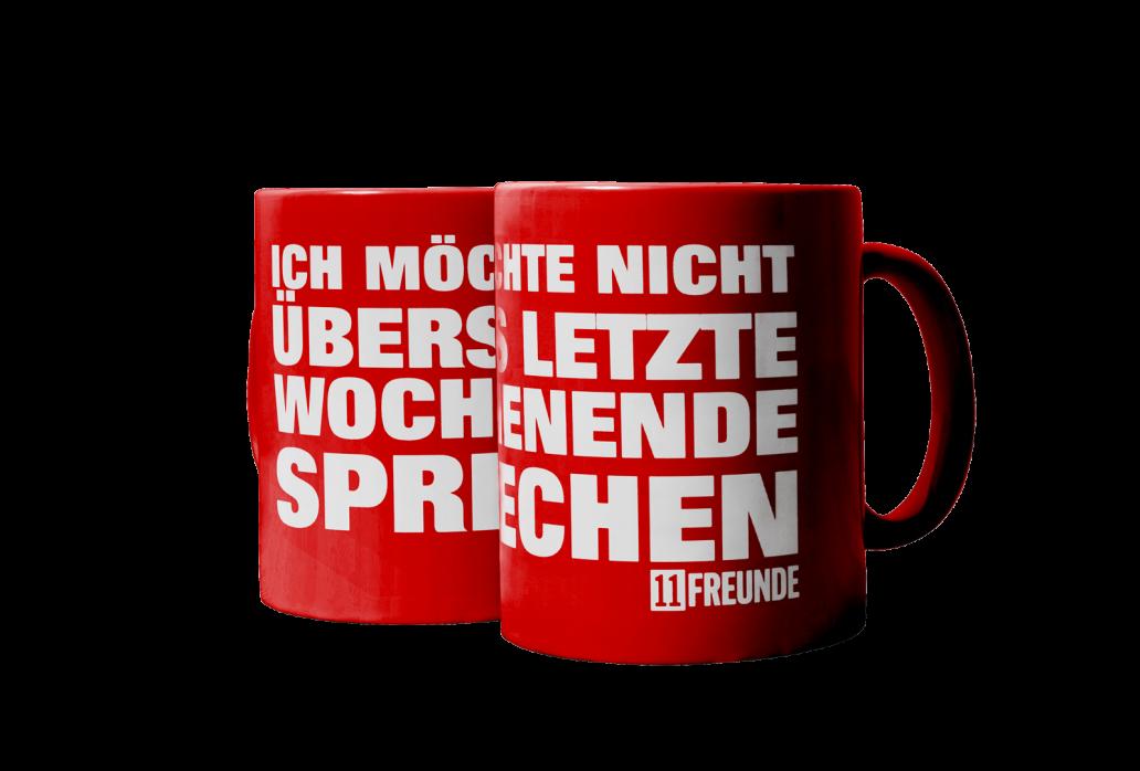 Kaffeebecher: Ich möchte nicht übers letzte Wochenende sprechen 11FREUNDE (rote Tasse)