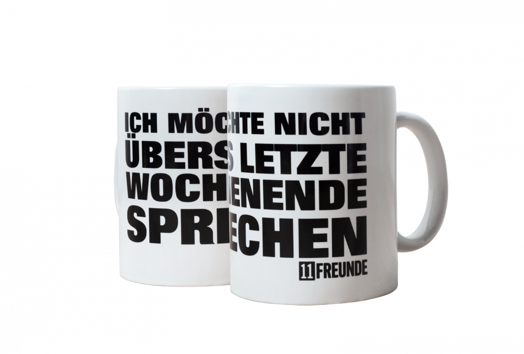 Kaffeebecher: Ich möchte nicht übers letzte Wochenende sprechen 11FREUNDE (weiße Tasse)