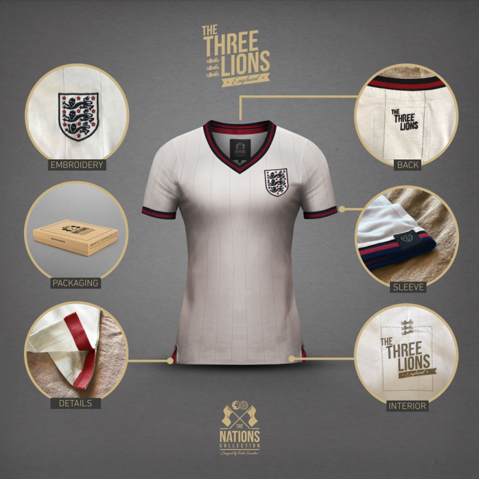 England - The Three Lions for Women - THE NATIONS designed by Emilio Sansolini - 11FREUNDE SHOP
