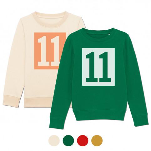 Die 11 im Kasten aus unserem Logo jetzt auch für die heranwachsenden Generationen als superbequemes Rundhals-Sweatshirt in diversen Farbkombinationen.