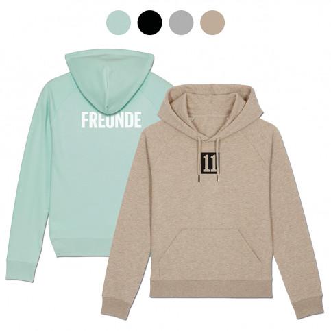 Frauen-Hoodie - FREUNDE im Rücken (Fairwear & Bio-Baumwolle) - 11FREUNDE Textil