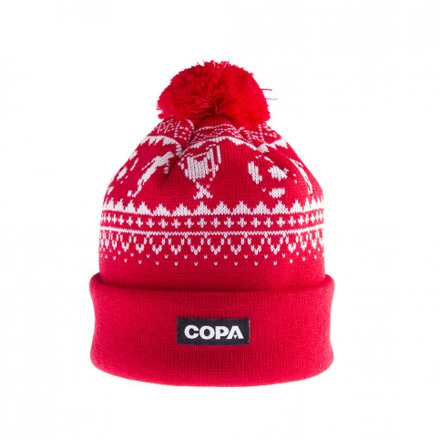 Nordic Knit Beanie | Red-White