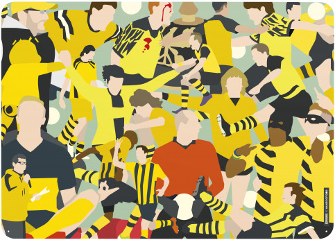 Magnettafel: Dortmund Clash (Design: Hands Of God) - Borussia Dortmund magnetisches Blechschild in 70 x 50 cm