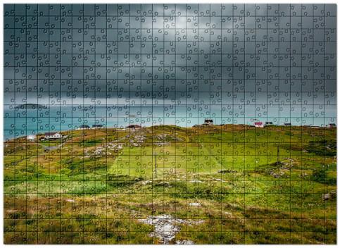 Puzzle: Rasenplatz an der schottischen Küste Schönes Puzzle