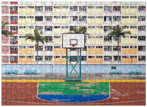 Puzzle: Basketballplatz in Hongkong
