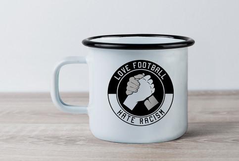 Emaillebecher: Love Football - Hate Racism - 11FREUNDE SHOP