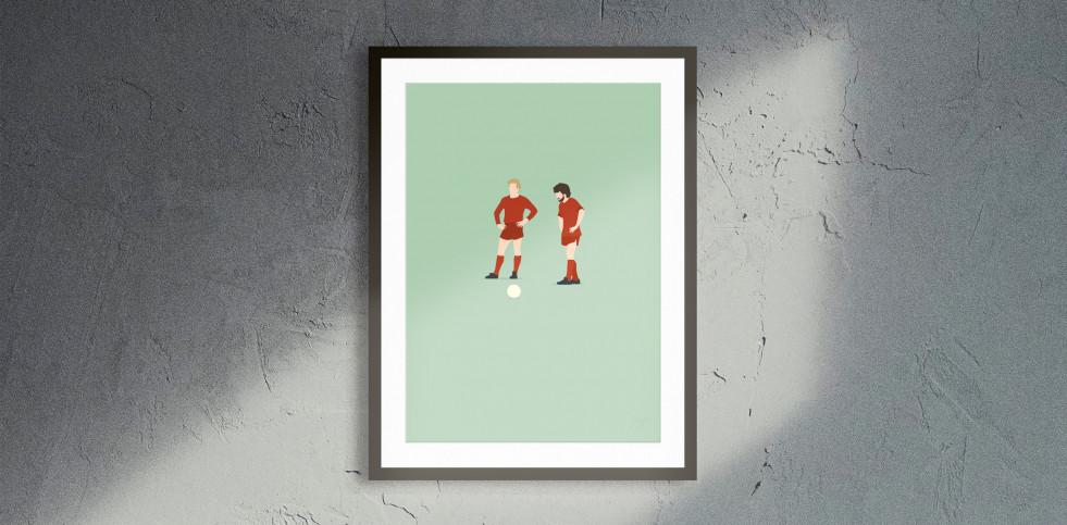 Kalle und Paul - Rummenigge und Breitner Illustration - Fußball Poster