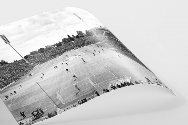 Von der Nordtribüne aus gesehen (Schwarzweiß) - Borussia Mönchengladbach von Christoph Buckstegen - Foto als Wandbild
