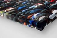 Regenschirme am Böllenfalltor als Leinwand auf Keilrahmen gezogen (Detail)
