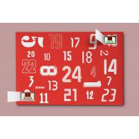 Adventskalender: 24 Rückennummern-Rot / Weiß