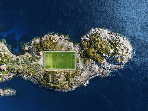 Fußballplatz auf den Lofoten