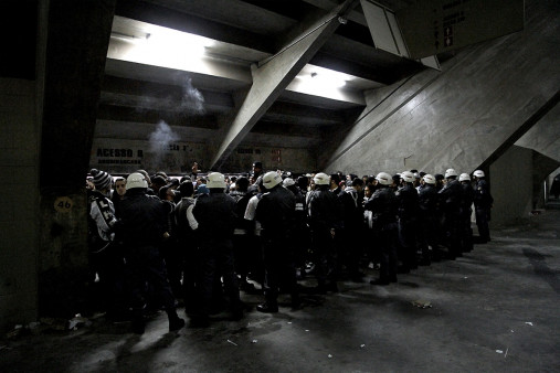 Police And Fans At The Stadium