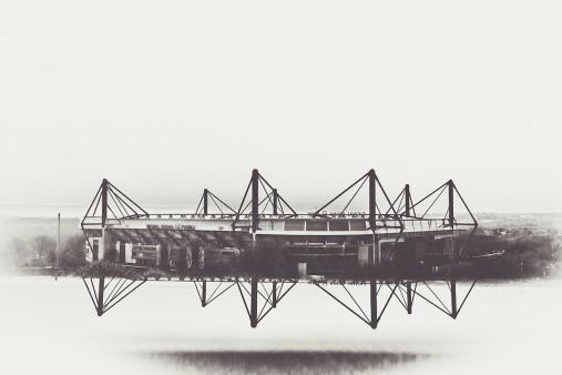 Es spiegelt sich der Signal Iduna Park - 11FREUNDE SHOP - Fußball Foto Wandbild