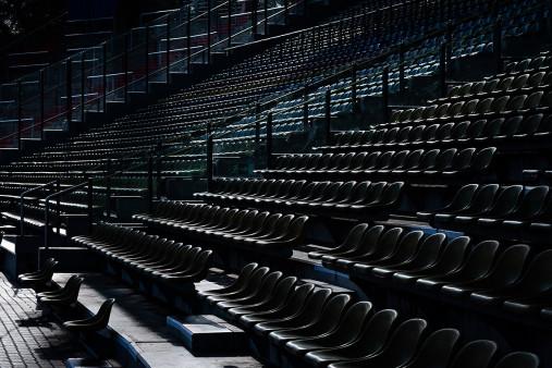 Haupttribüne Wildparkstadion im Gegenlicht - KSC Wandbild - Karlsruher SC Fußball Foto
