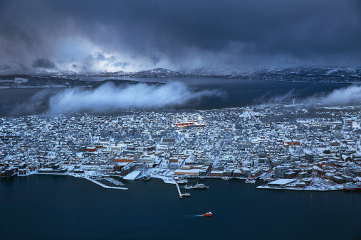 Flutlicht im norwegischen Tromsø