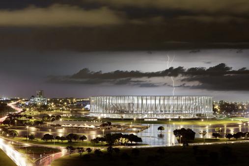 Estádio Nacional de Brasília am Abend - 11FREUNDE BILDERWELT