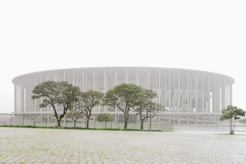 Estádio Nacional de Brasília im Nebel