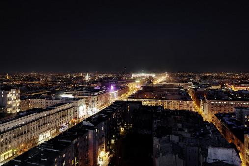 Nationalstadion Warschau bei Nacht