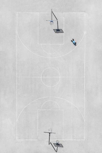 Basketballplatz aus der Vogelperspektive